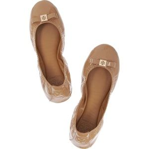 TORY BURCH Eddie Patent Leather Ballet Flats Camel